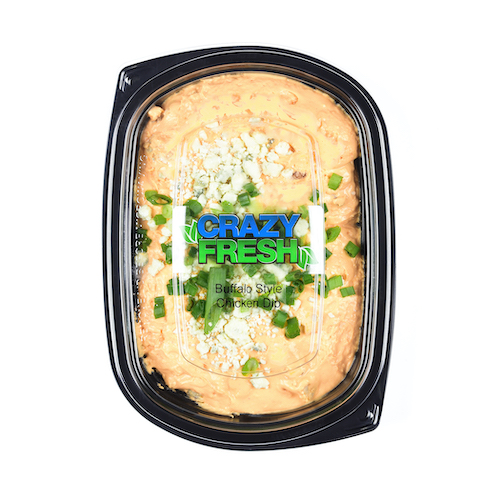 Our Buffalo Chicken Dip is the perfect game day snack! Just throw it in the microwave to heat it, and it's ready to serve to your guests!