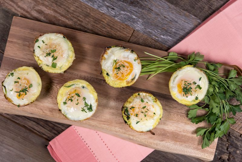 bacon and egg pasta cup made with crazy fresh zucchini noodles