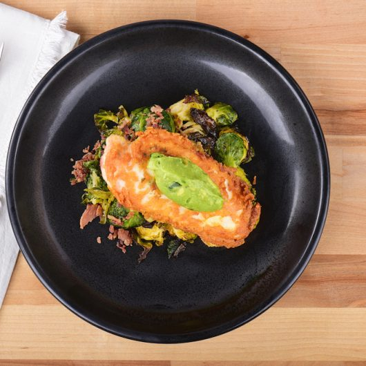 Spicy Guacamole Parmesan Chicken with Brussels Sprouts
