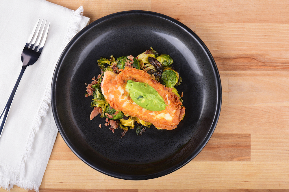 Spicy Guacamole Parmesan Chicken with Brussels Sprouts Recipe