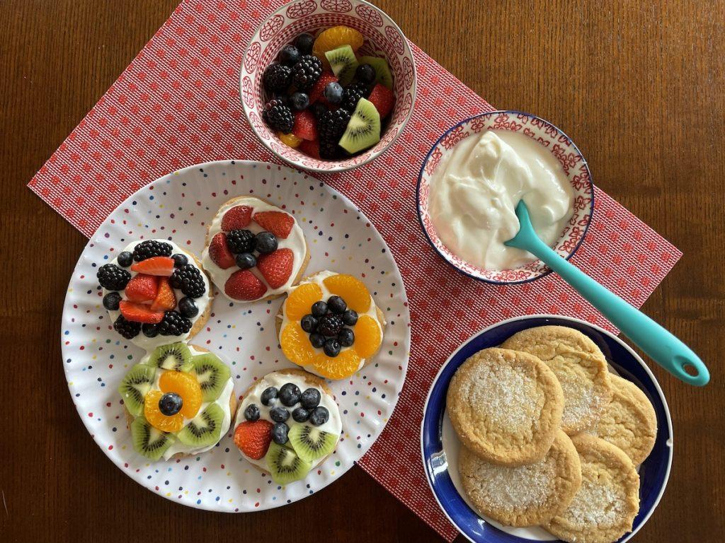 Kids Rainbow Fruit Pizza using pre-cut fruit and fruit dip