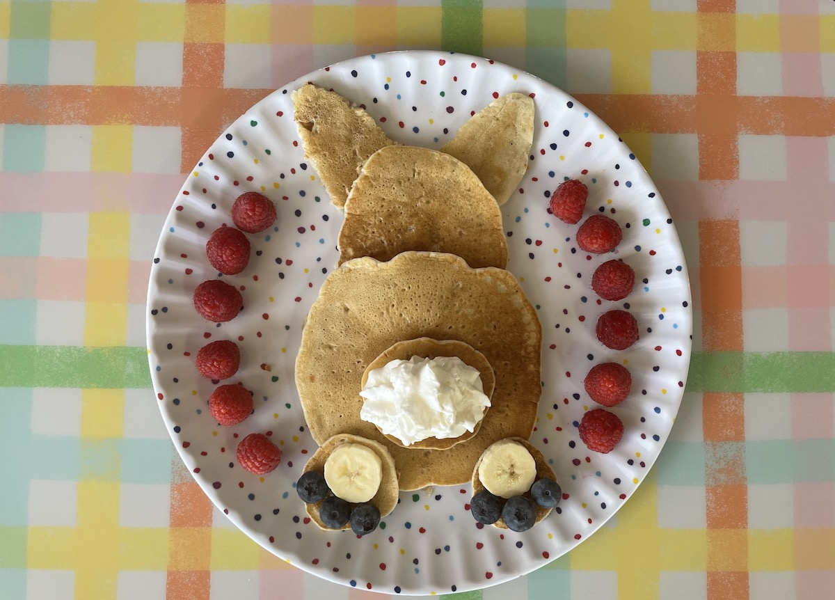 Easter bunny butt pancakes