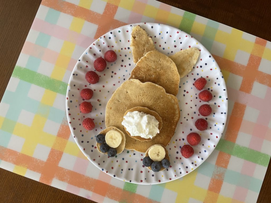 Easter bunny butt pancakes