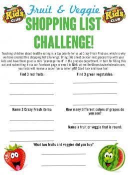 Kids Club Shopping List Challenge