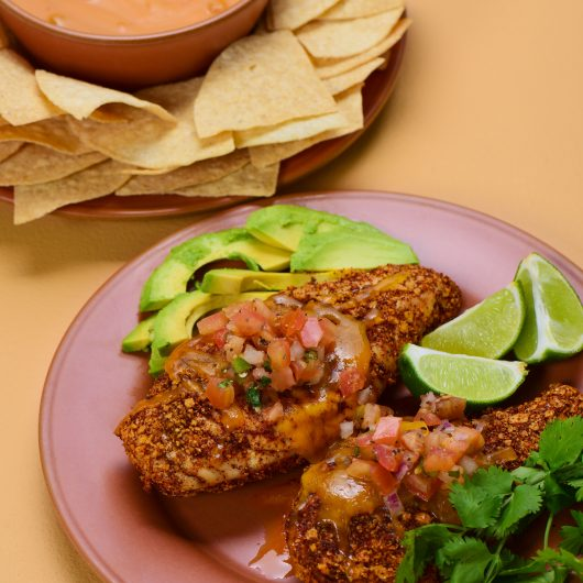 Tortilla Chip Crusted Chicken with Queso